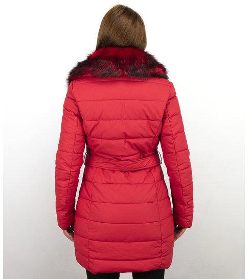 Macleria Lange Parka Dames Winterjas – Met Rode Bontkraag – Rood