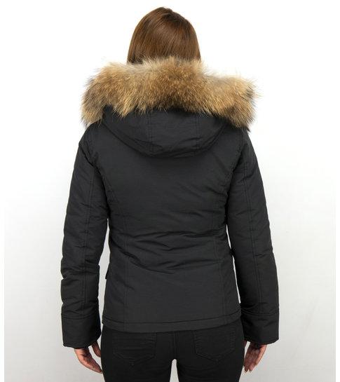 TheBrand Korte Dames Winterjas – Met Bontkraag – Zwart