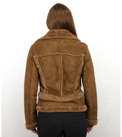 Z DESIGN Bikerjack Dames Suede – Lammy Coat – Bruin