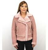 Z DESIGN Bikerjack Dames Suede – Lammy Coat – Roze