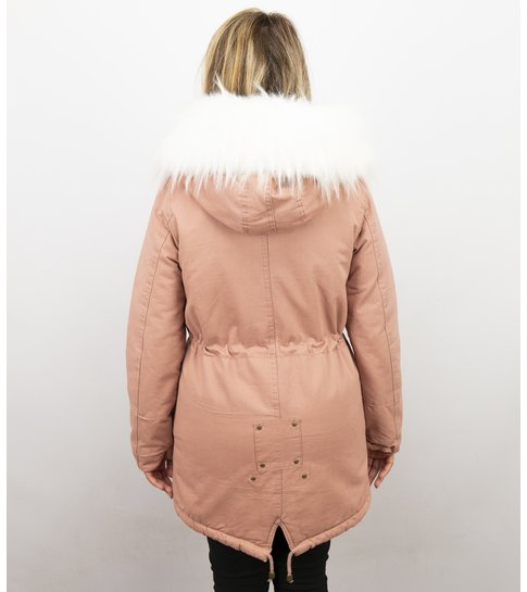 Z DESIGN Lange Dames Winterjas – Met Grote Faux Bontkraag – Roze