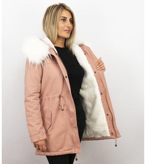 Z-design Lange Dames Winterjas – Met Grote Bontkraag – Roze