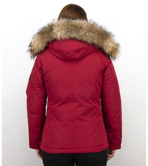 TheBrand Winterjassen - Dames Winterjas Canada Kort - Bontkraag - Rood