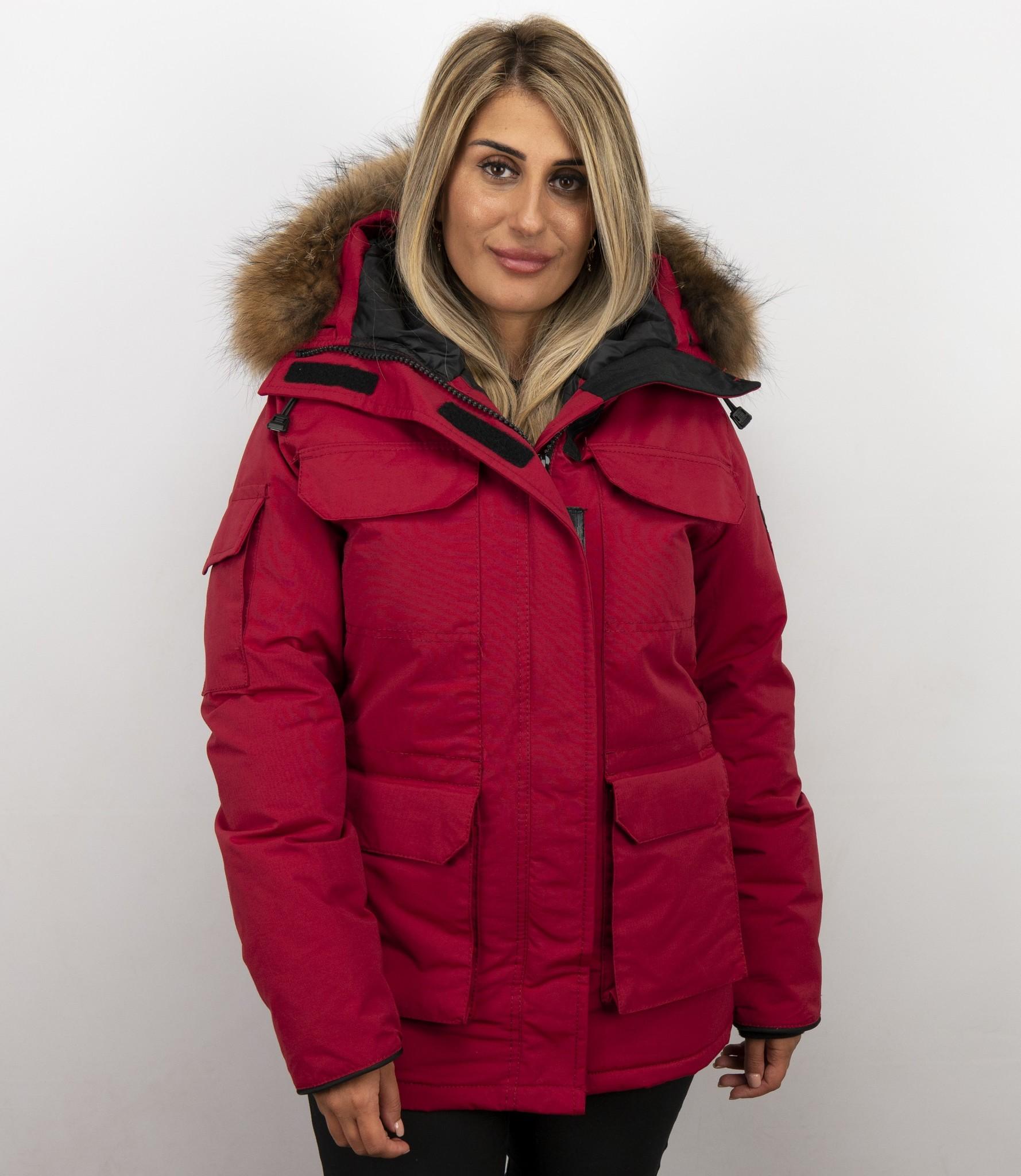 New York Discover best verkocht Dames Winterjas   Rode winterjas met capuchon   - StyleItaly.nl