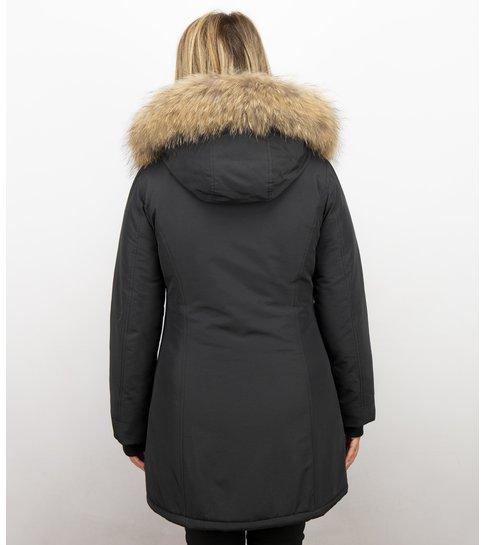 Winter parka dames Lang | Winterjas dames | Bontjas zwart