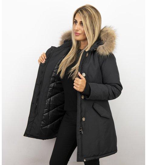 Gentile Bellini Bontjassen - Dames Winterjas Wooly Lang - Large Bontkraag - Zwart