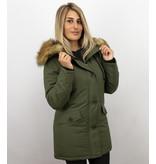 Style Italy Goedkope Dames Winterjas met Bontkraag - Groene Dames Parka