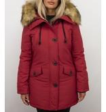 Adrexx Dames Winterjassen met Bontkraag Uitverkoop - Rode Parka vrouwen