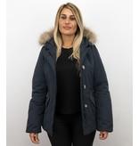 MATOGLA Bontjassen - Dames Winterjas Wooly Kort - Grote Bontkraag - Blauw