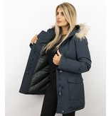 MATOGLA Bontjassen - Dames Winterjas Wooly Lang - Bontkraag - Parka Steekzakken - Blauw