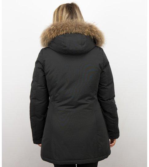 MATOGLA Bontjassen - Dames Winterjas Wooly Lang - Bontkraag - Parka Steekzakken - Zwart