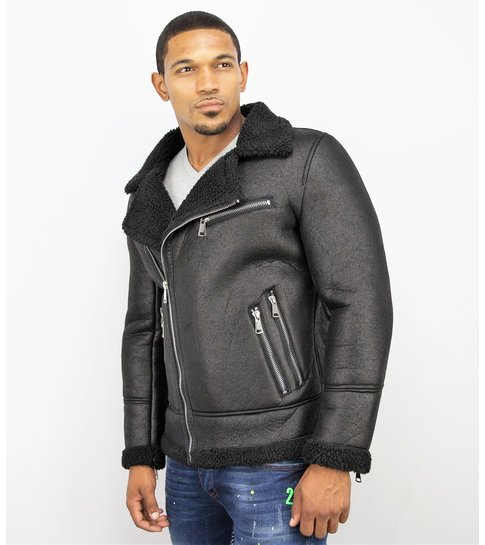 TONY BACKER Imitatie Bontjas Heren - Lammy Coat - Zwart