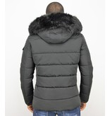 Enos Korte Heren Winterjas – Faux Fur Bontkraag – Zwart
