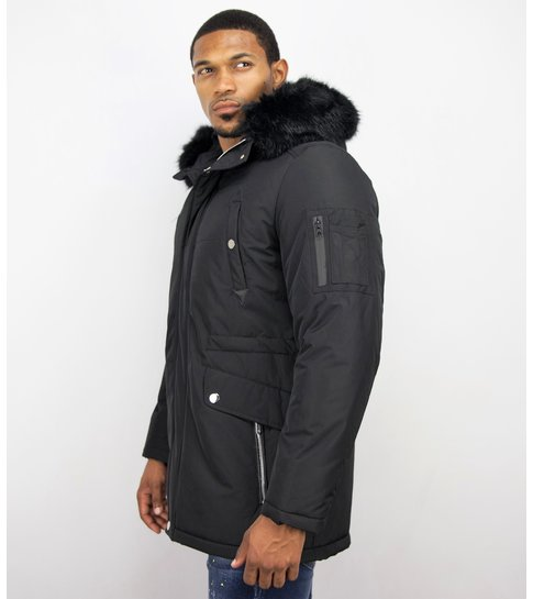 Lange zwarte winterjassen heren | met Kunstkraag | Style Italy