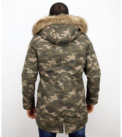 Enos Lange Heren Winterjas – Met Bontkraag  – Camouflage