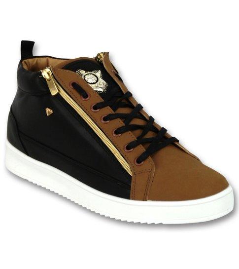Cash Money Heren Sneaker Bee Camel Black  Gold Hoog- CMS98 - Bruin