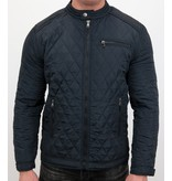 Enos Heren jas kort model - Slim Fit Jack - Blauw