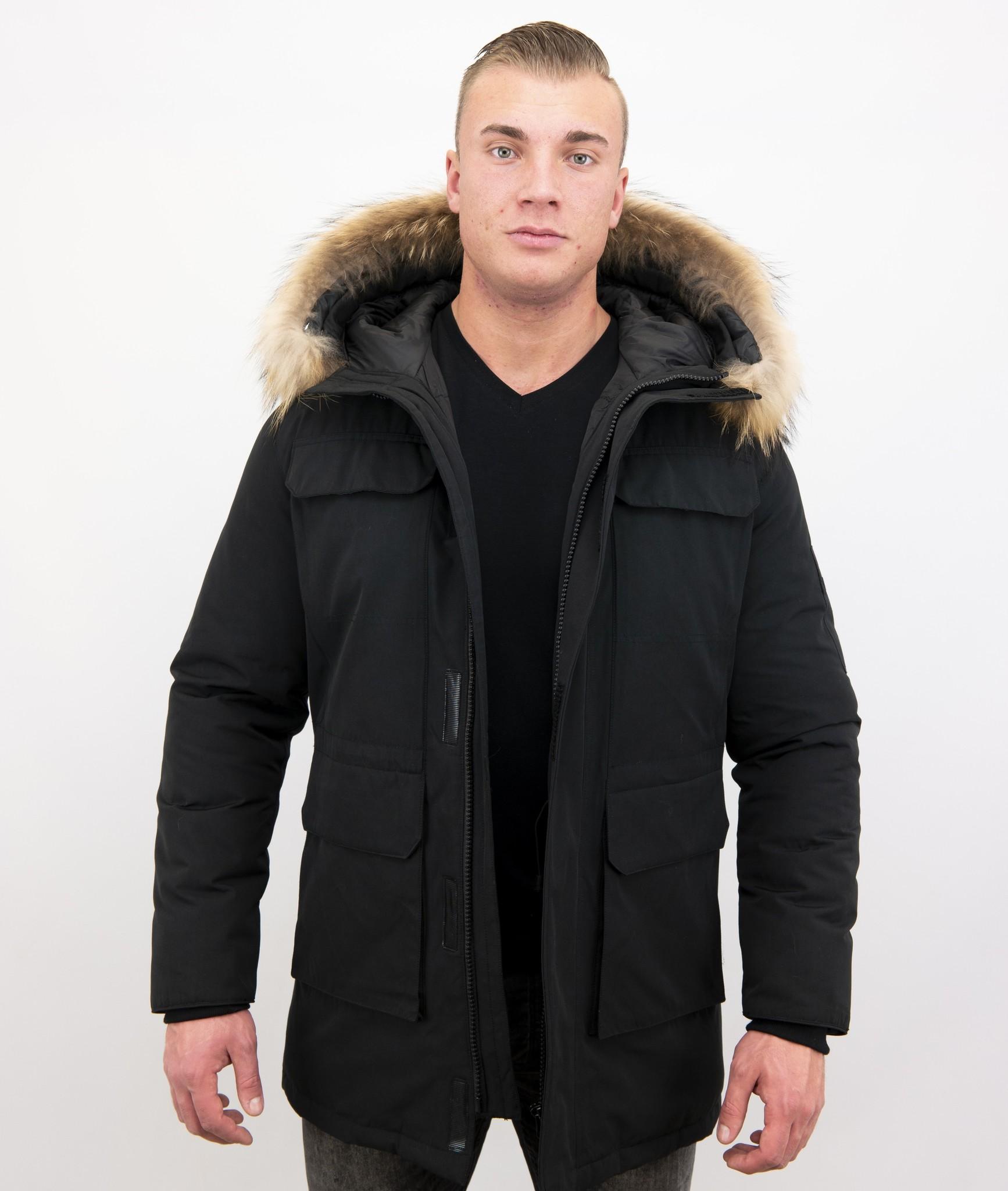 Heren Parka Winterjas met Grote Echte Bontkraag – Zwart