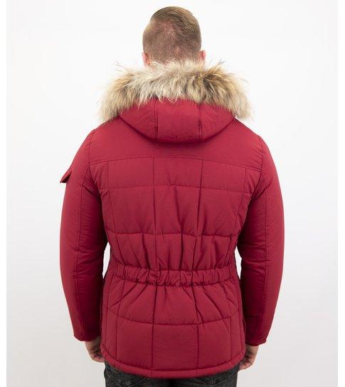 Beluomo Rode Winterjas Heren Grote Bontkraag - Mannen Parka