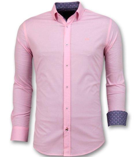 TONY BACKER Heren Overhemden Italiaans - Blanco Blouse - 3032 - Roze