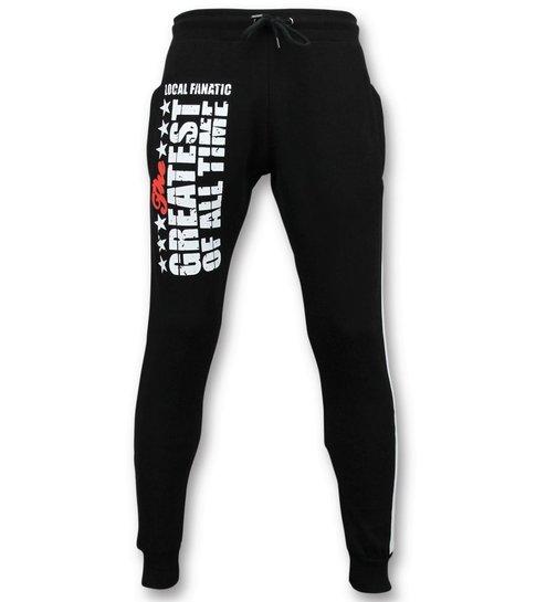 Local Fanatic Exclusieve Sweatpants Mannen - Muhammad Ali Trainingsbroek - Zwart