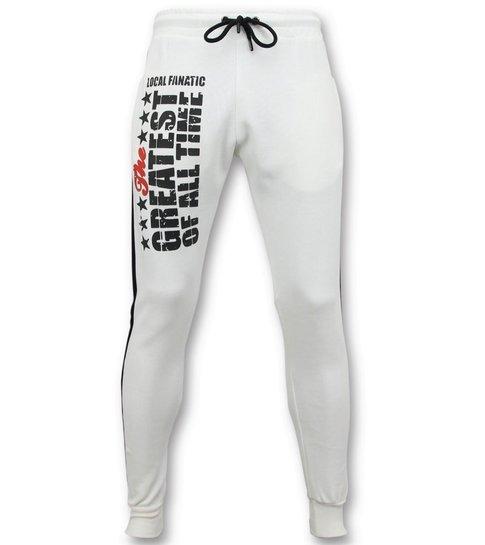 Local Fanatic Exclusieve  Sweatpants  Heren - Muhammad Ali Trainingsbroek - Wit