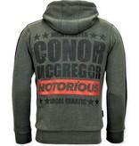 Local Fanatic Exclusieve Trainingsvest Heren  - Conor Mcgregor Hoodie- Groen