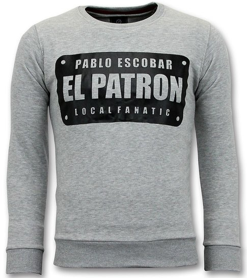 Local Fanatic  Sweater Heren - Pablo Escobar El Patron - Grijs