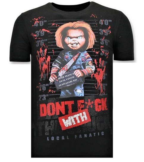 Local Fanatic Stoere T-shirt Heren - Bloody Chucky Print - Zwart