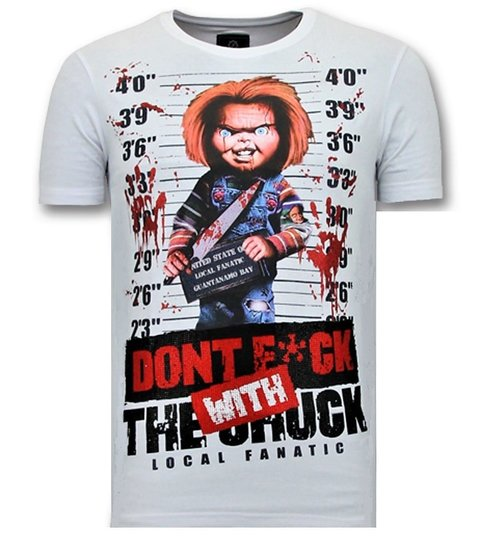 Local Fanatic Heren T shirt met Print - Bloody Chucky Angry - Wit