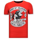 Local Fanatic Exclusieve Heren T shirt met Opdruk - Sons of Anarchy Print - Rood