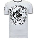 Local Fanatic Exclusieve Heren T shirt met Print - Sons of Anarchy MC - Wit