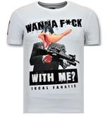 Local Fanatic Coole T-shirt Heren - Shooting Duck Gun - Wit