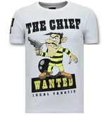 Local Fanatic Exclusieve T-Shirt Mannen  Print - The Chief Wanted - Wit