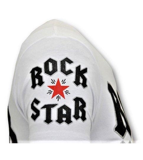 Local Fanatic Stoere T-Shirt Heren - Rock My World Cat - Wit