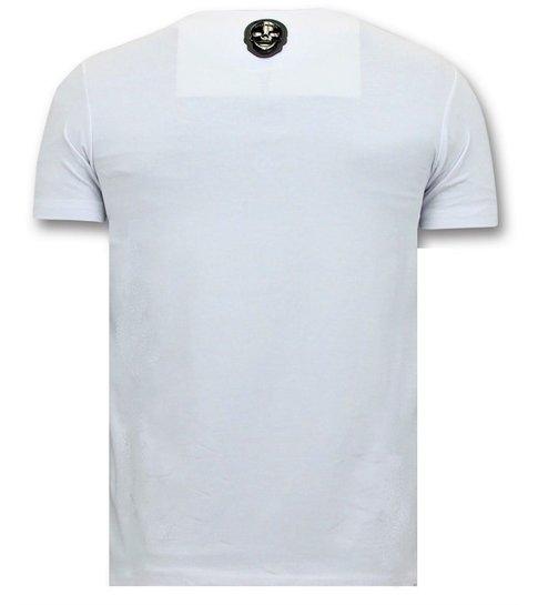Local Fanatic  T-shirt Heren met Opdruk - Narcos Pablo Escobar - Wit