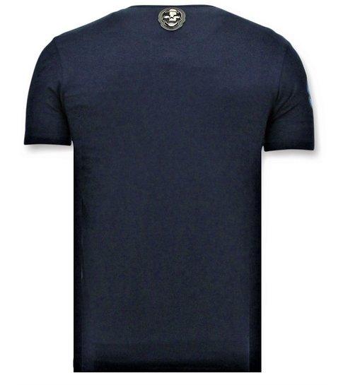 Local Fanatic Stoere T-shirt Mannen - Transformers Print - Blauw