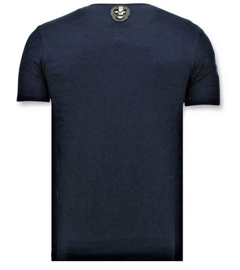 Local Fanatic  T-shirt Heren met Opdruk - Predator Neon Print - Blauw