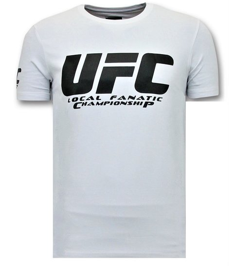 Local Fanatic Heren T shirts met Print - UFC Championship Basic - Wit