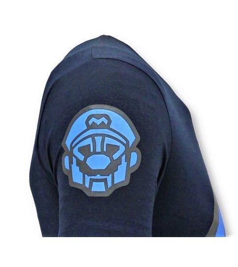 Local Fanatic Heren T shirts met Print  - Mario Neon Opdruk  - Blauw