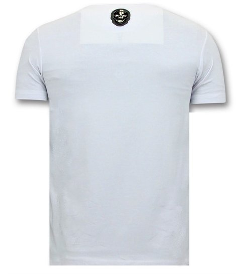 Local Fanatic Heren T shirts met Print  - Mario Neon Opdruk - Wit
