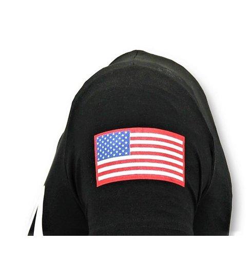Local Fanatic Bedrukte T-shirt Heren - NASA American Flag Shirt - Zwart