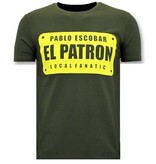 Local Fanatic Heren T shirts met Print - Pablo Escobar El Patron - Groen
