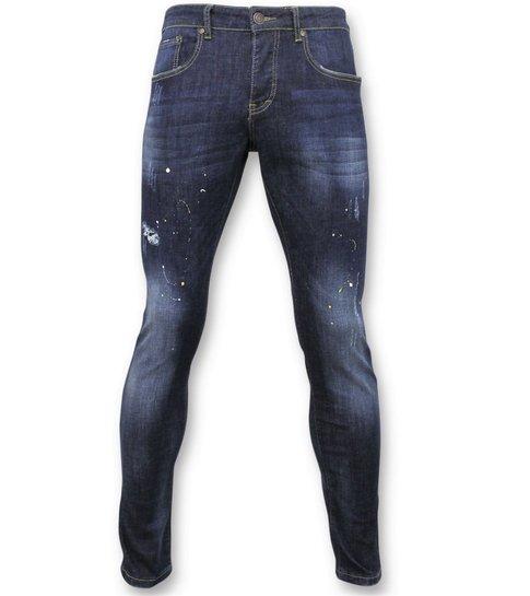 TRUE RISE Basic Broek Heren - Jeans Met Verfvlekken - D3068 - Blauw