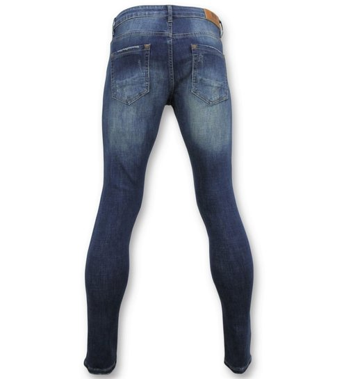 TRUE RISE Skinny Basic Jeans - Man Spijkerbroek Washed - D3021 - Blauw