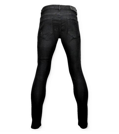 TRUE RISE Ripped Heren Jeans - Spijkerbroek Versleten - D3080 - Zwart