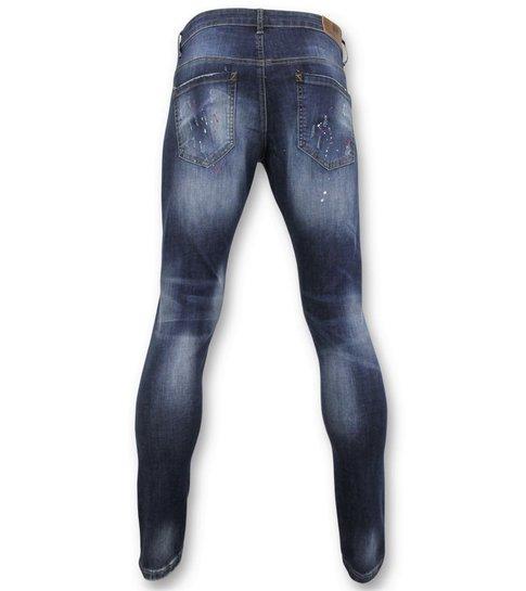 TRUE RISE Basic Broek Heren - Heren Jeans Verf - D3065 - Blauw