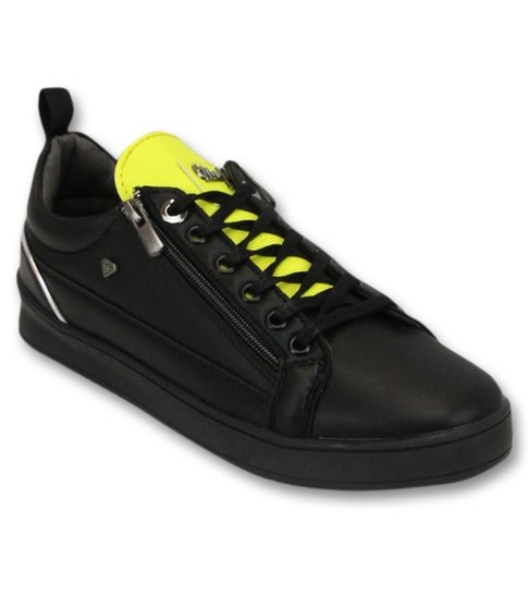 Cash Money Heren Sneakers - Maximus Black Yellow - CMS97 - Zwart