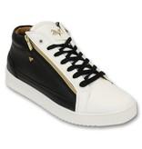 Cash Money Heren Sneaker - Bee Black White Gold 2- CMS98 - Zwart/Wit