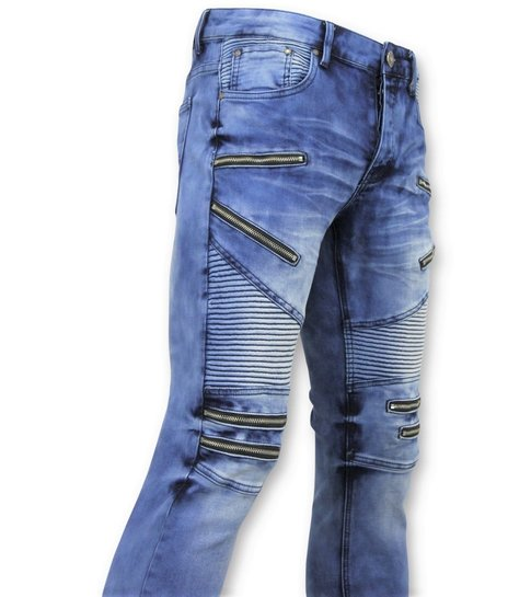 TRUE RISE Heren Spijkerbroek - Biker Jeans Zip - 3025 - Blauw